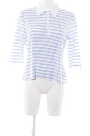 Escada Sport Longsleeve weiß-himmelblau Streifenmuster Casual-Look