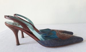 Escada Slingback Pumps brown-dark blue leather