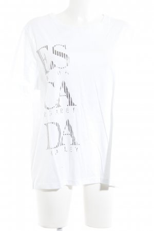 Escada Sport Camiseta blanco-color plata letras impresas look casual