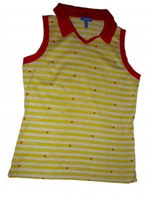 Escada Sport Top Polo Shirt ärmellos gelb weiß rot Herzchen