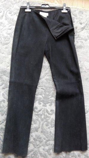 Escada Sport Pantalon en cuir noir daim