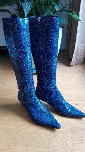 Escada Stiefel blau Reptil-Optik Gr.36,5
