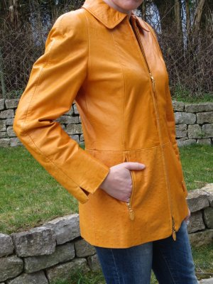 Escada, Strauss Echt Lederjacke, Gr. 36, orange