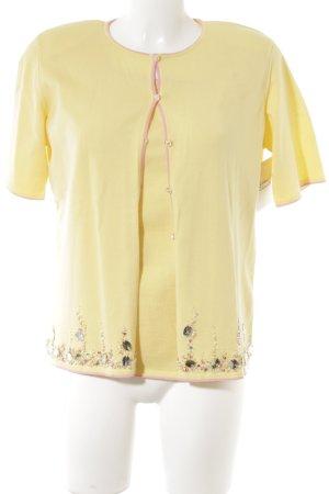 Escada Twin set in maglia giallo pallido-rosa stile stravagante