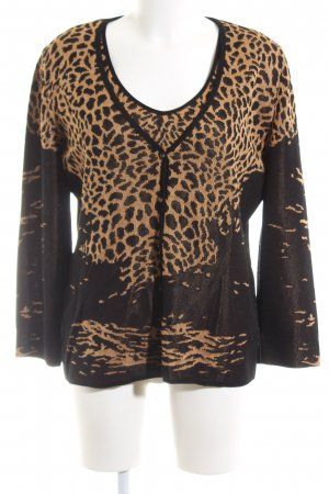 Escada Knitted Twin Set black-brown leopard pattern business style