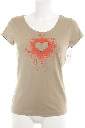 Escada T-Shirt beige-ziegelrot Farbtupfermuster Casual-Look