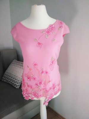 Escada T-shirt detailverliebt in rosa 40