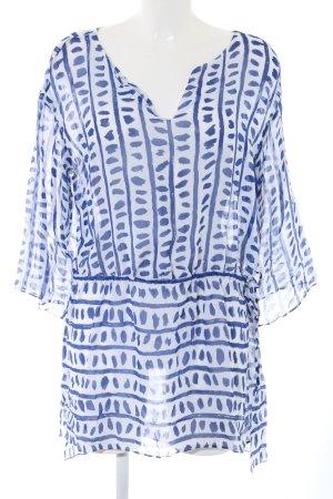 Escada Transparenz-Bluse weiß-blau abstraktes Muster Casual-Look