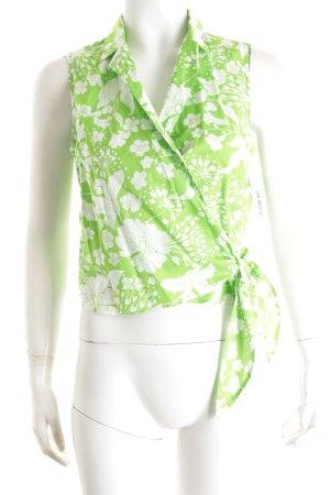 Escada Wickel-Bluse weiß-grün florales Muster Casual-Look