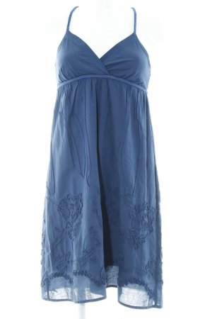 Escandelle A-Linien Kleid dunkelblau florales Muster Beach-Look
