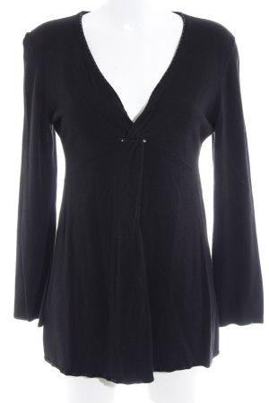 ESISTO V-Ausschnitt-Pullover schwarz Casual-Look