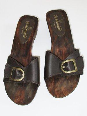 Esmara Holzcloggs Größe 37 Leder Dunkelbraun Sandalen Schlappen Slipper Strandschuh Schuhe Holz