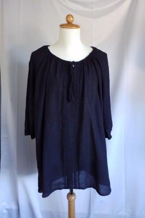 Esmara, leichte 3/4 Arm Crinkle Bluse, Spitzenbesatz, schwarz, Gr. 48/50