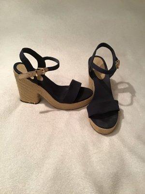 Tommy Hilfiger Wedge Sandals dark blue-cream cotton