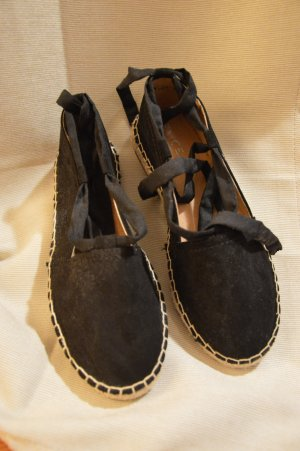 Espadrille sandalen zwart Suede