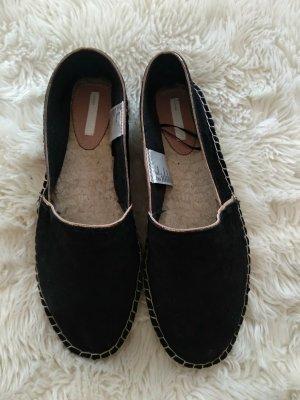 H&M Premium Espadrille sandalen zwart-goud Suede