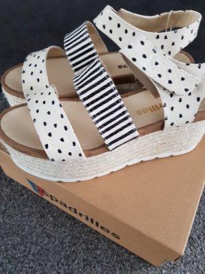 Sandales à talons hauts et plateforme blanc cassé-noir cuir