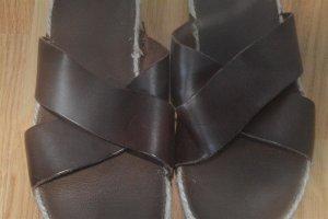 Asos Espadrille sandalen bruin-cognac Leer