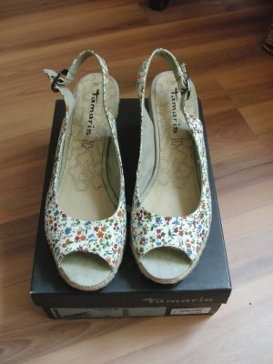 Espadrilles-Sandalen mit Blümchenmuster- so gut wie neu