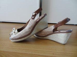 Tamaris Espadrille Sandals brown-cream textile fiber