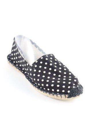 Espadrille sandalen zwart-wit gestippeld patroon casual uitstraling