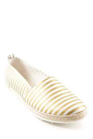 Espadrille blanc-doré motif rayé style décontracté