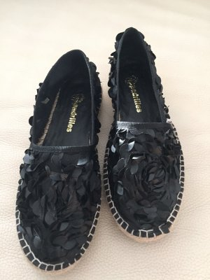 Espadrille sandalen zwart-camel Synthetische vezel
