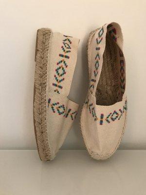 Espadrilles Slipper Sandalen Stoffschuhe Schuhe Mocassins Weiß Bunt Spanien NEU