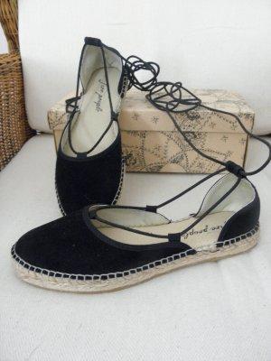 Free People Espadrille sandalen zwart Suede