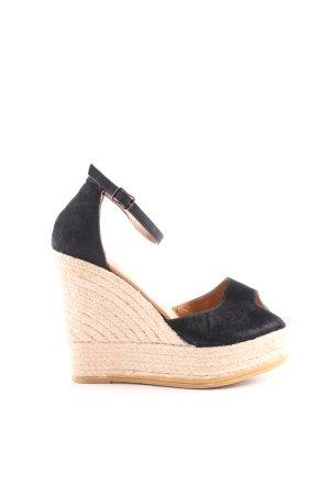 Espadrilles Wedges Sandaletten schwarz-wollweiß Casual-Look