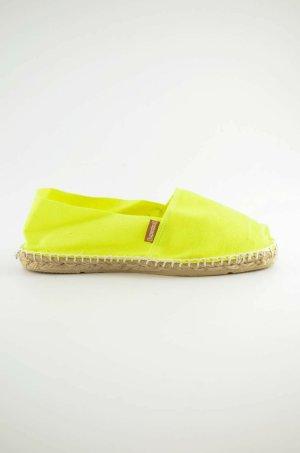 ESPANDRIJ Damen Espandrilles Neon-Gelb Canvas Jute Sommer Gr.36