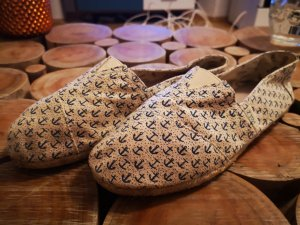 Espadrille sandalen wit-blauw