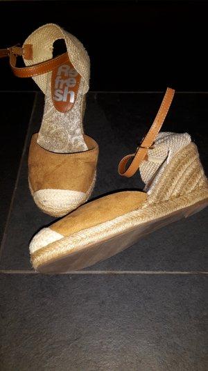 Espadrille sandalen bruin-licht beige Imitatie leer