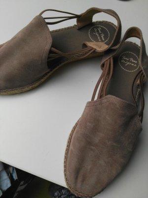 Espadrille sandalen taupe-grijs-bruin
