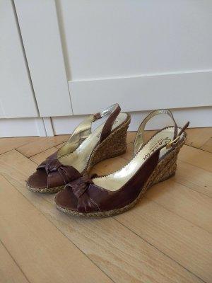Wedge Sandals cognac-coloured