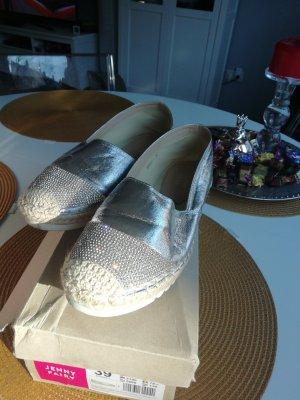 Espadrille sandalen zilver-lichtbruin