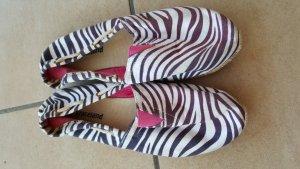 Espandrilles Zebraprint Textil schwarz weiß 38