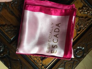ESPECIALLY ESCADA Tuch Schal rosa pink Satin Halstuch ca. 100 x 100 cm BOX NEU