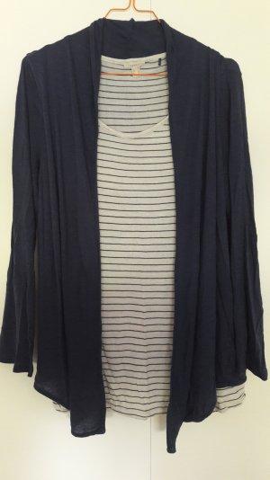 Esprit 2-in-1 Shirt mit Weste gestreift dunkelblau natur Gr. S