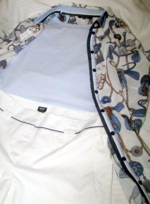 esprit collection 3/4-broek wit-donkerblauw Katoen