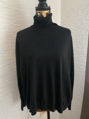 Esprit Blusa de cuello alto negro-azul oscuro