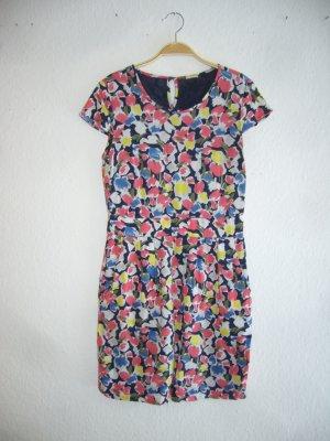 Esprit 34 XS Kleid gemustert Blumen Muster Sommerkleid Minikleid Etuikleid bunt Flügelärmnel