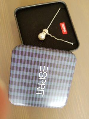 Esprit 925er Silber Kette mit Anhänger in Perlenoptik ca. 45 cm, Perle ca. 1 cm Durchmesser
