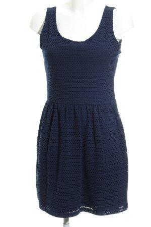 Esprit A-Linien Kleid dunkelblau Lochstrickmuster Casual-Look