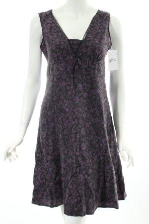 Esprit A-Linien Kleid lila-schwarz florales Muster