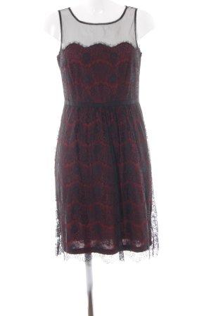 Esprit A-Linien Kleid schwarz-dunkelrot Mustermix Elegant