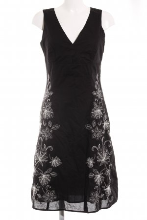 Esprit A-Linien Kleid schwarz-weiß florales Muster Elegant