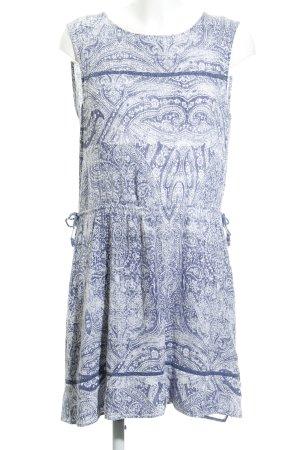 Esprit A-Linien Kleid stahlblau-weiß Allover-Druck Casual-Look