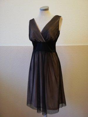 Esprit Abendkleid plissiert Gr. 34 XS nude schwarz Tüll Kleid rückenfrei