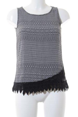 Esprit ärmellose Bluse schwarz-weiß abstraktes Muster Casual-Look